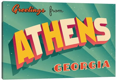 Greetings From Athens, Georgia Canvas Art Print