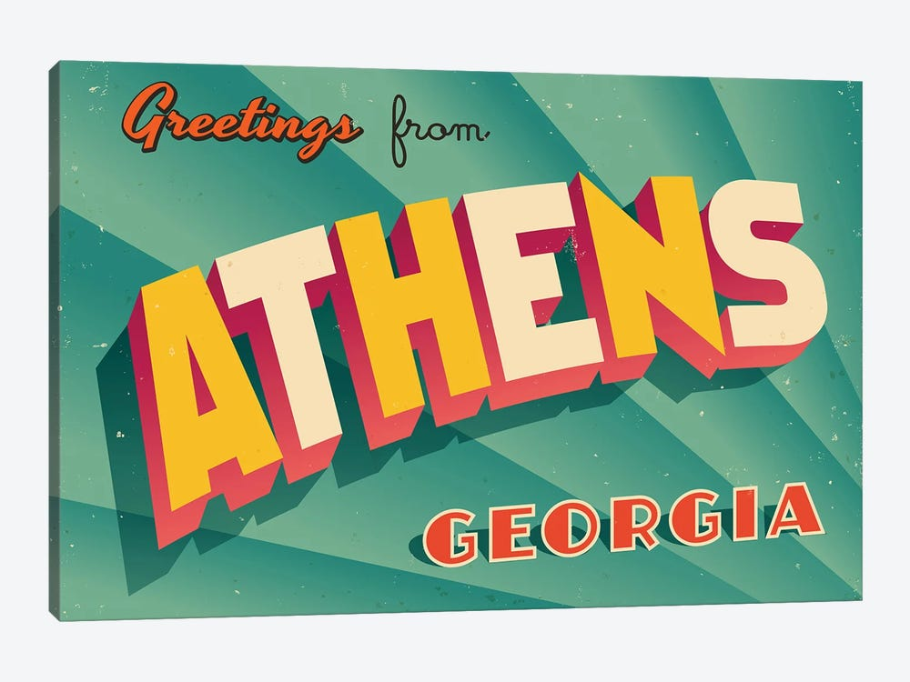 Greetings From Athens, Georgia by RealCallahan 1-piece Canvas Print