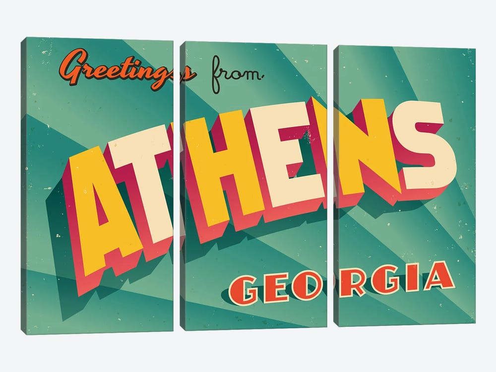 Greetings From Athens, Georgia by RealCallahan 3-piece Canvas Art Print