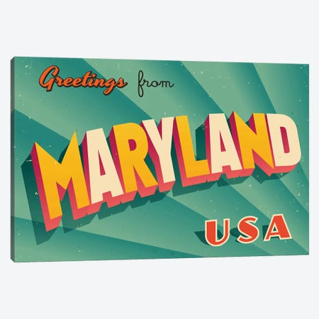 Greetings From Maryland Canvas Print #DPT206} by RealCallahan Canvas Wall Art