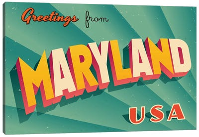 Greetings From Maryland Canvas Art Print