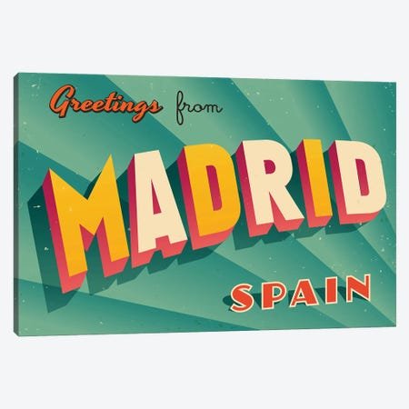 Greetings From Madrid Canvas Print #DPT207} by RealCallahan Canvas Wall Art