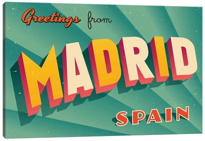 Greetings From Madrid Canvas Art Print