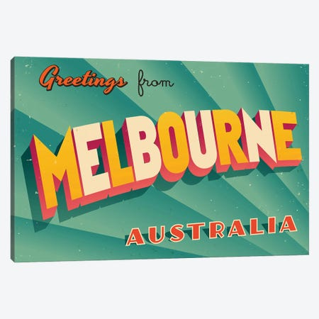 Greetings From Melbourne Canvas Print #DPT208} by RealCallahan Canvas Print