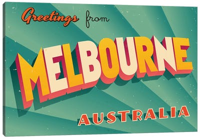 Greetings From Melbourne Canvas Art Print