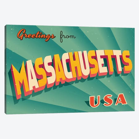 Greetings From Massachusetts Canvas Print #DPT209} by RealCallahan Art Print