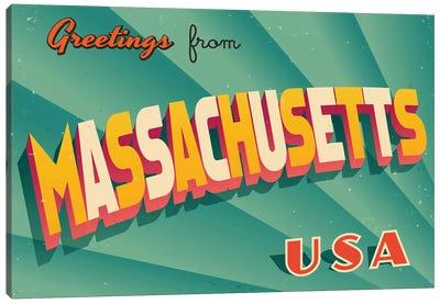 Greetings From Massachusetts Canvas Art Print