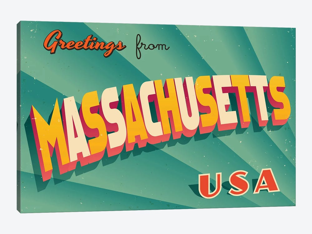 Greetings From Massachusetts by RealCallahan 1-piece Canvas Print