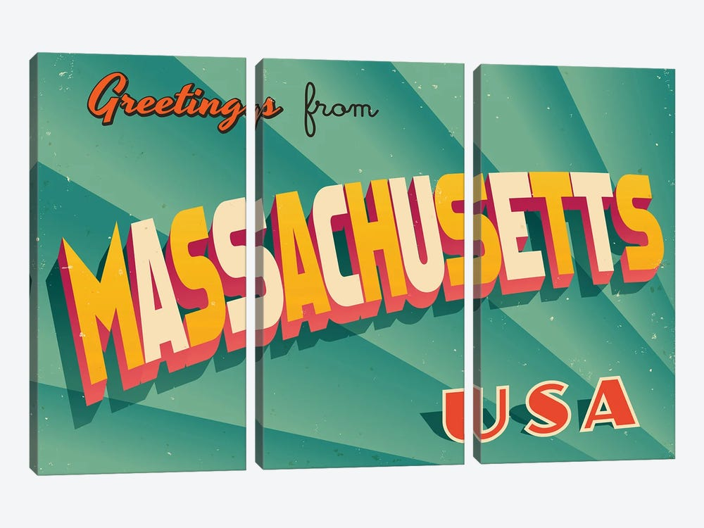 Greetings From Massachusetts by RealCallahan 3-piece Canvas Print