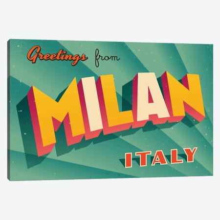 Greetings From Milan Canvas Print #DPT210} by RealCallahan Canvas Art