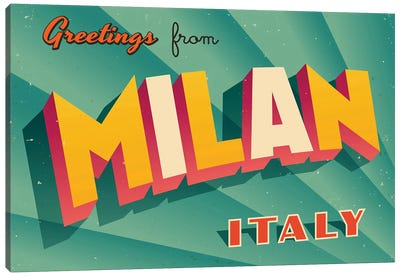 Greetings From Milan Canvas Art Print
