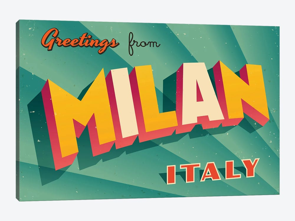 Greetings From Milan by RealCallahan 1-piece Canvas Art Print