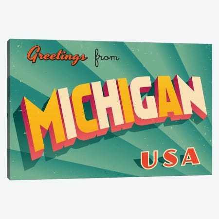 Greetings From Michigan Canvas Print #DPT211} by RealCallahan Canvas Artwork