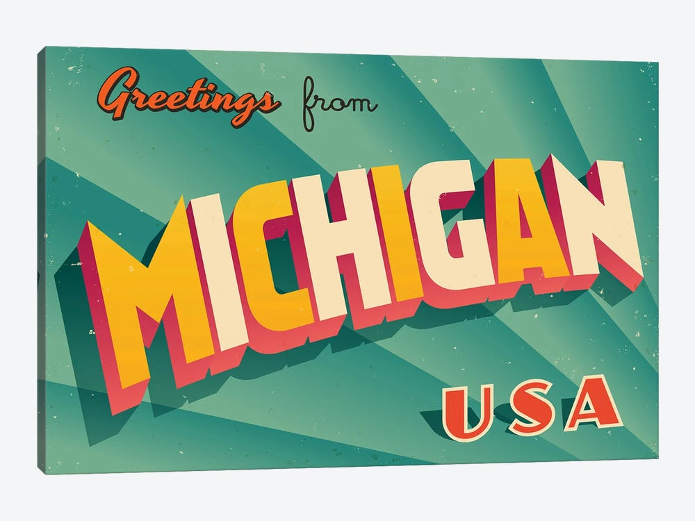 Greetings From Michigan by RealCallahan 1-piece Canvas Art