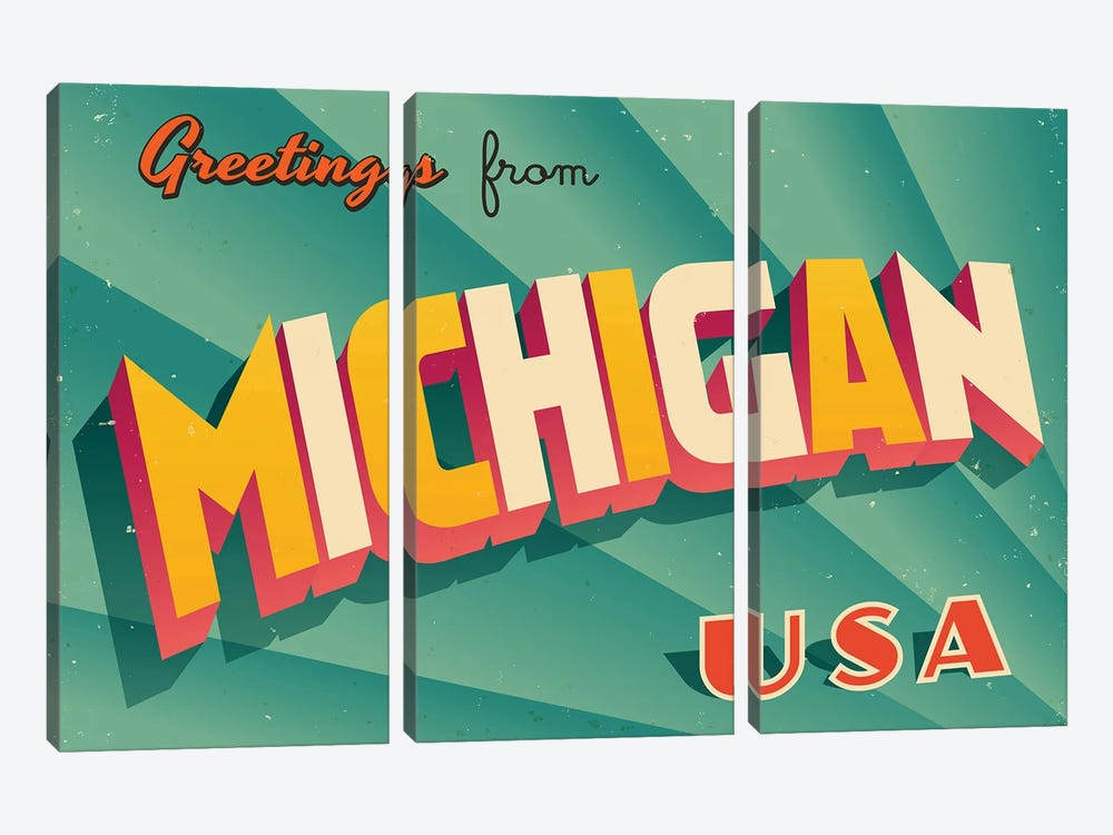 Greetings From Michigan by RealCallahan 3-piece Canvas Artwork