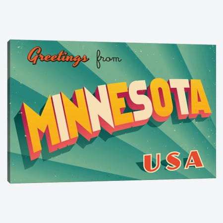 Greetings From Minnesota Canvas Print #DPT212} by RealCallahan Canvas Wall Art