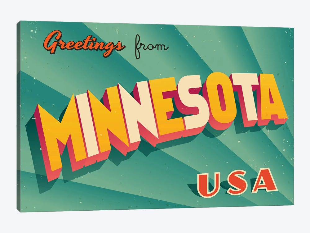 Greetings From Minnesota by RealCallahan 1-piece Canvas Art Print
