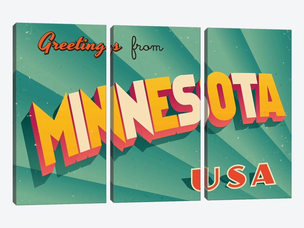 Greetings From Minnesota by RealCallahan 3-piece Canvas Art Print