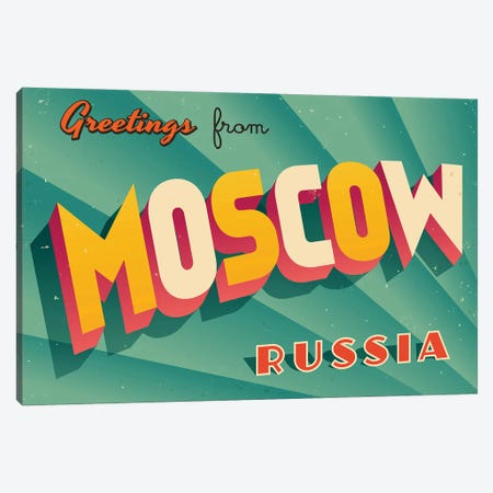 Greetings From Moscow Canvas Print #DPT213} by RealCallahan Canvas Wall Art