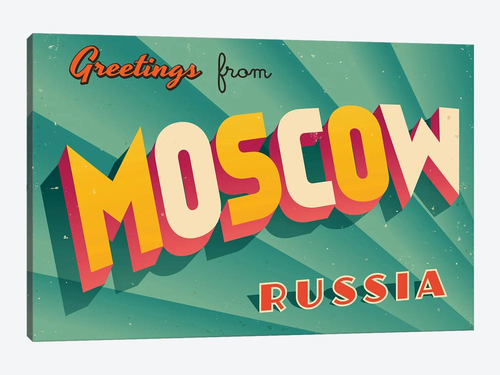 Greetings From Moscow by RealCallahan 1-piece Canvas Artwork