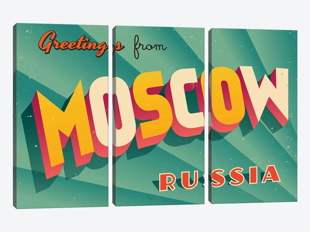 Greetings From Moscow by RealCallahan 3-piece Canvas Wall Art