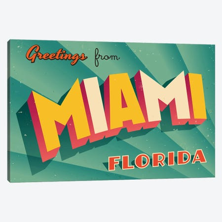 Greetings From Miami Canvas Print #DPT214} by RealCallahan Canvas Print