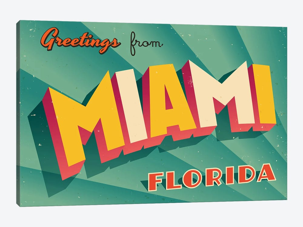 Greetings From Miami by RealCallahan 1-piece Art Print