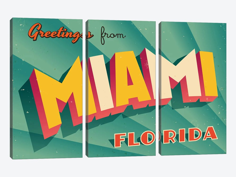 Greetings From Miami by RealCallahan 3-piece Canvas Art Print