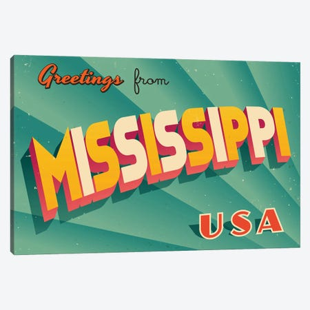 Greetings From Mississippi Canvas Print #DPT215} by RealCallahan Art Print