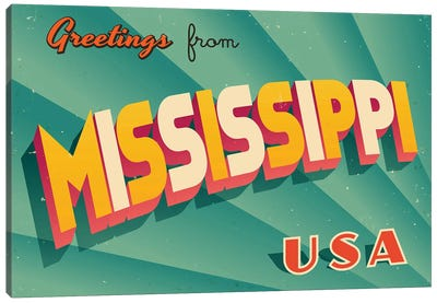 Greetings From Mississippi Canvas Art Print
