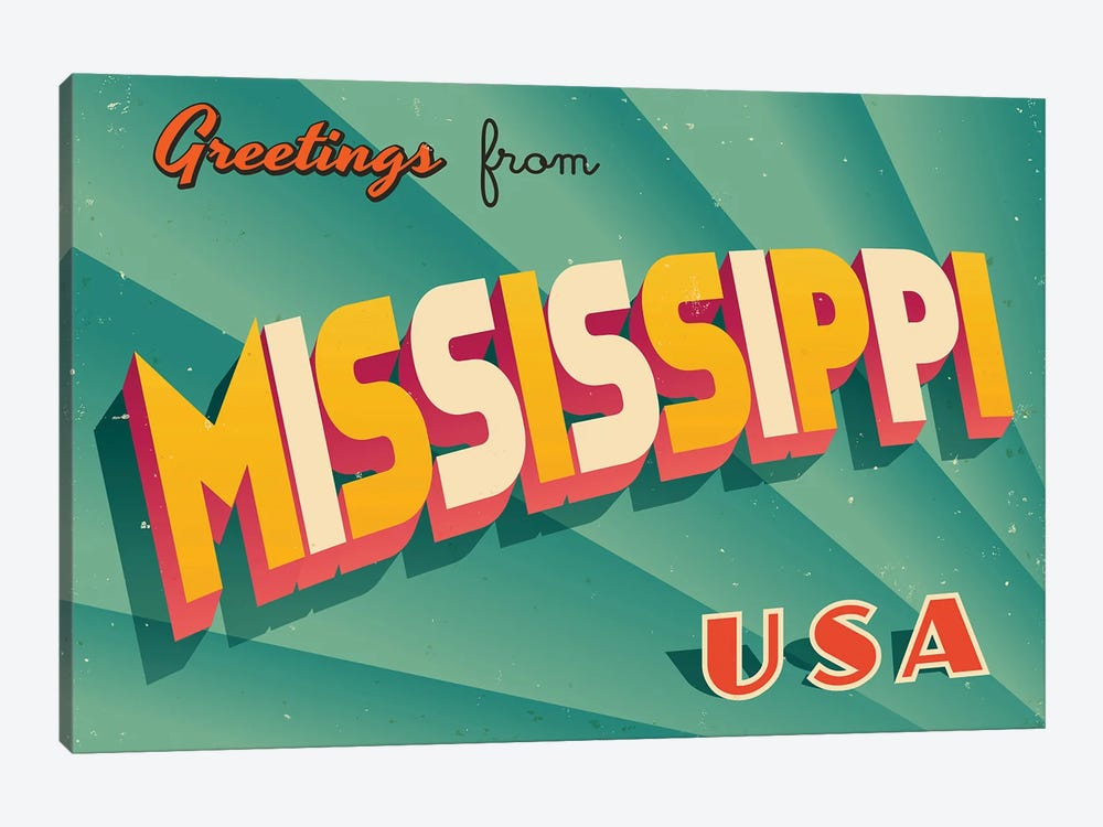 Greetings From Mississippi by RealCallahan 1-piece Canvas Artwork