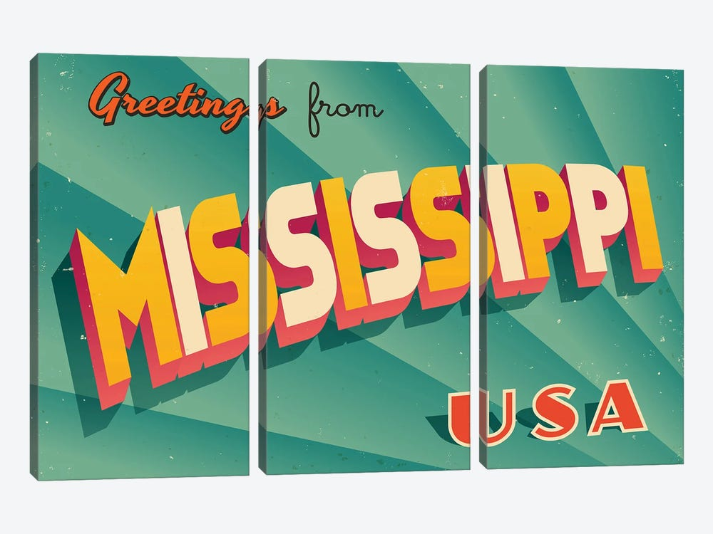 Greetings From Mississippi by RealCallahan 3-piece Canvas Art
