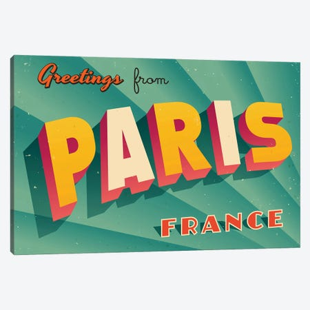 Greetings From Paris Canvas Print #DPT216} by RealCallahan Art Print