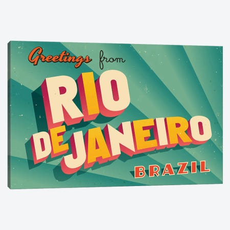 Greetings From Rio de Janeiro Canvas Print #DPT217} by RealCallahan Canvas Art Print