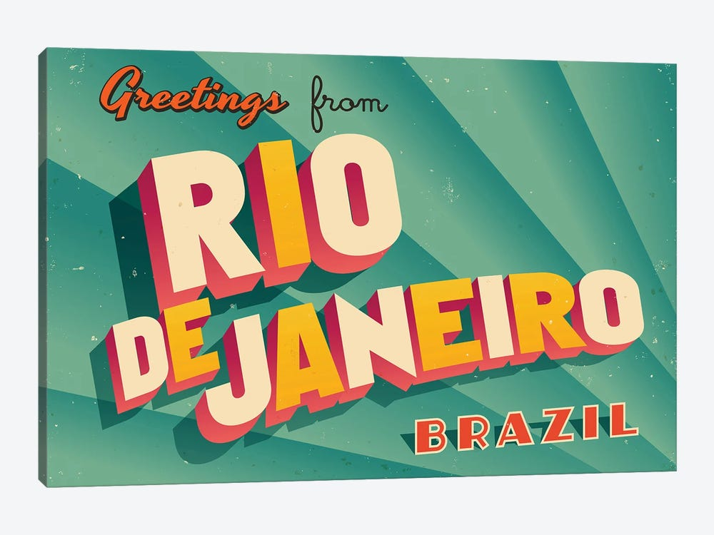 Greetings From Rio de Janeiro by RealCallahan 1-piece Canvas Artwork