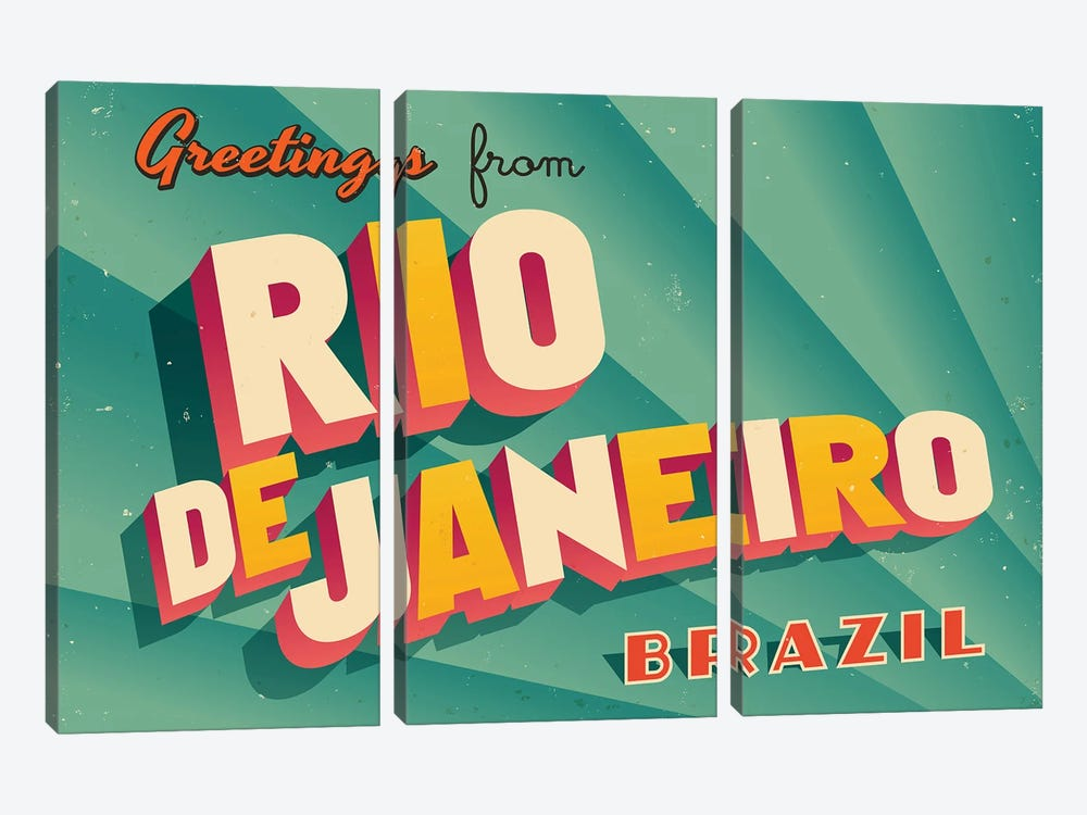 Greetings From Rio de Janeiro by RealCallahan 3-piece Canvas Art