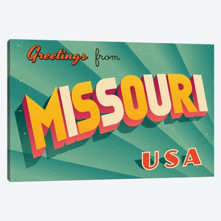 Greetings From Missouri Canvas Print #DPT218} by RealCallahan Canvas Wall Art
