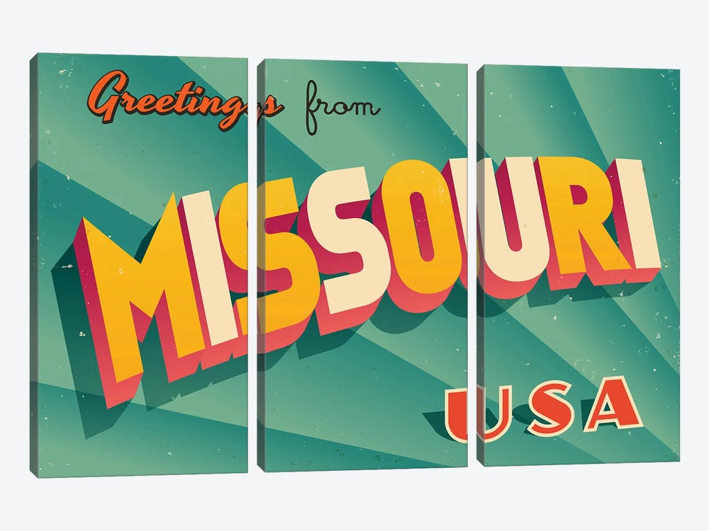 Greetings From Missouri by RealCallahan 3-piece Art Print