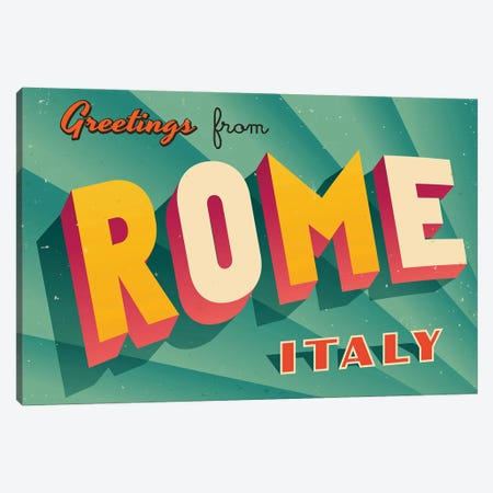Greetings From Rome Canvas Print #DPT219} by RealCallahan Canvas Artwork