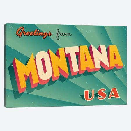 Greetings From Montana Canvas Print #DPT220} by RealCallahan Art Print