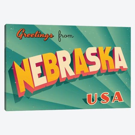Greetings From Nebraska Canvas Print #DPT221} by RealCallahan Canvas Print
