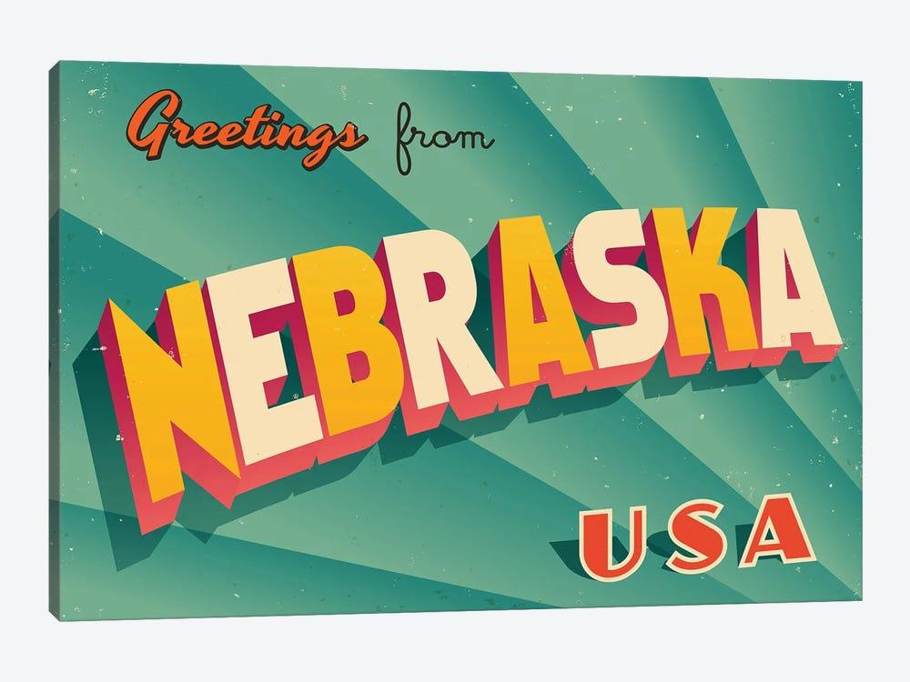 Greetings From Nebraska by RealCallahan 1-piece Canvas Art Print