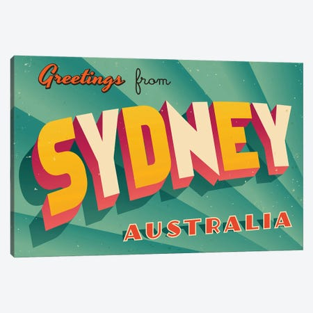 Greetings From Sydney Canvas Print #DPT222} by RealCallahan Canvas Art Print