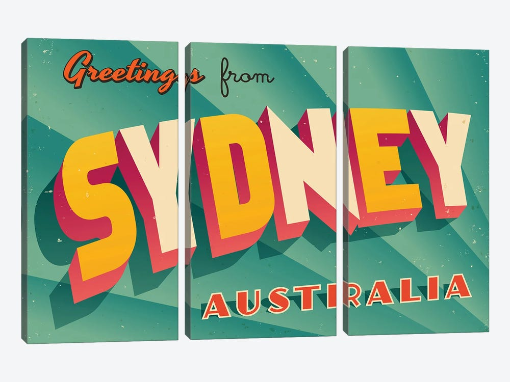 Greetings From Sydney by RealCallahan 3-piece Canvas Art