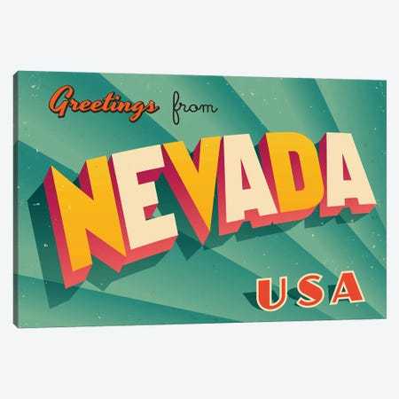 Greetings From Nevada Canvas Print #DPT223} by RealCallahan Art Print