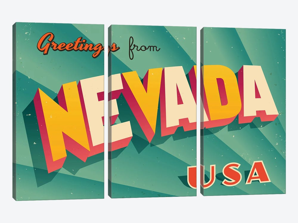Greetings From Nevada by RealCallahan 3-piece Canvas Art Print