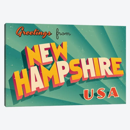 Greetings From New Hampshire Canvas Print #DPT225} by RealCallahan Canvas Artwork