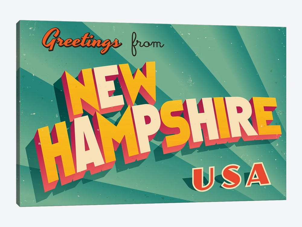 Greetings From New Hampshire by RealCallahan 1-piece Canvas Art Print