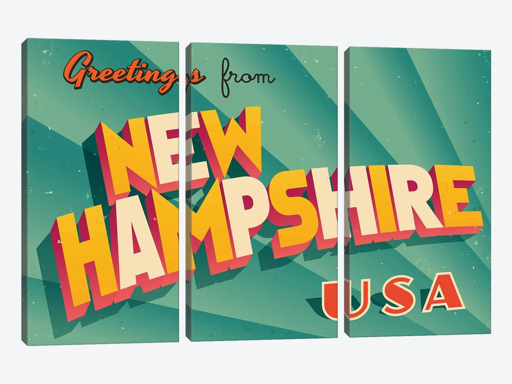 Greetings From New Hampshire by RealCallahan 3-piece Canvas Art Print