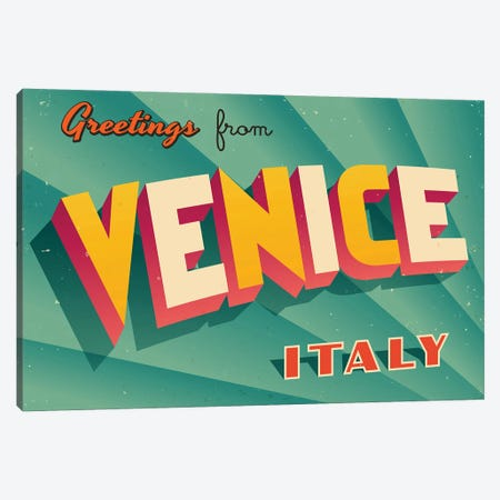 Greetings From Venice Canvas Print #DPT226} by RealCallahan Canvas Artwork